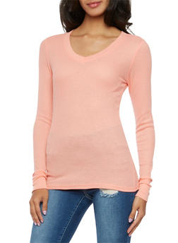 Thermal Top with V Neck - BLUSH - 3014066240504