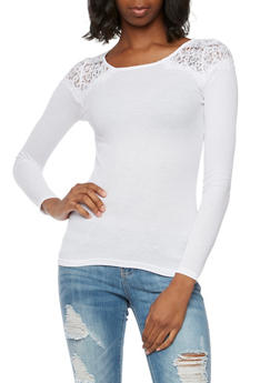 Thermal Top with Crochet Shoulders - WHITE - 3014066241607