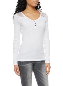 Thermal Henley Top with Lace Paneling - WHITE - 3014066242584