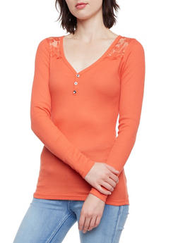 Thermal Henley Top with Lace Paneling - 3014066242584