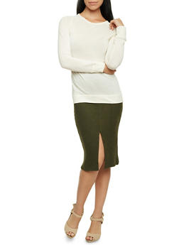 Long Sleeve Crew Neck Top - IVORY - 3014066249176