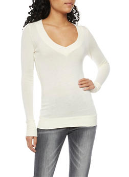Basic V Neck Top with Long Sleeves - IVORY - 3014066249179