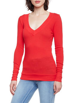 Basic V Neck Top with Long Sleeves - 3014066249179