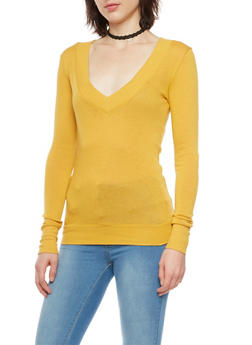 Basic V Neck Top with Long Sleeves - MUSTARD - 3014066249179