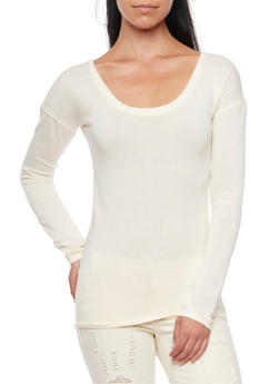 Sweater with Scoop Neck - IVORY - 3014066249181