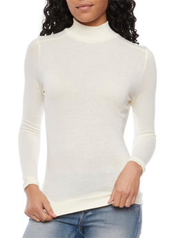Basic Long Sleeve Turtleneck - IVORY - 3014066249186