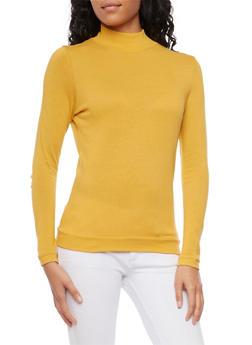 Basic Long Sleeve Turtleneck - MUSTARD - 3014066249186