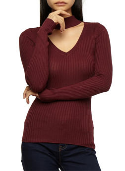 Long Sleeve Choker Neck Ribbed Knit Top - 3020015050001