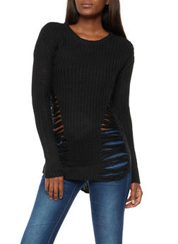 Ripped Knit High Low Sweater - 3020015050004
