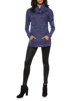Marled Sweater with Drawstring Cowl Neck - 3020015050005