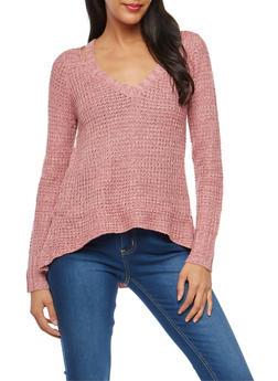 Chunky Knit Slit Shoulder Sweater - 3020015050011
