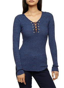 Long Sleeve Lace Up Ribbed Knit Top - EVENING BLUE - 3020015050012