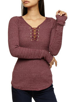 Long Sleeve Lace Up Ribbed Knit Top - WINDSOR WINE - 3020015050012