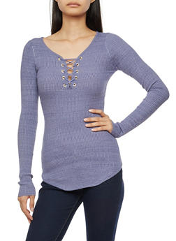 Long Sleeve Lace Up Ribbed Knit Top - HERON - 3020015050012
