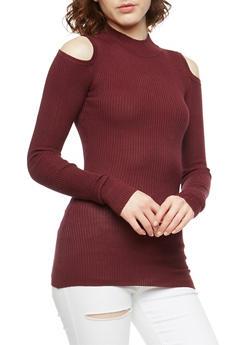 Ribbed Knit Cold Shoulder Sweater - WINDSOR WINE - 3020015050015