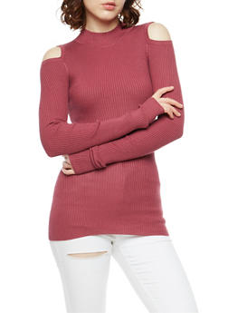 Ribbed Knit Cold Shoulder Sweater - 3020015050015