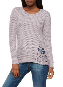 Long Sleeve Ripped Sweater with Zipper Back - 3020015050020