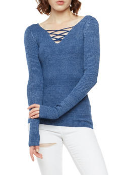 Ribbed Knit Long Sleeve Sweater - 3020015050026