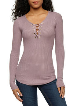 Long Sleeve Solid Lace Up Ribbed Knit Top - 3020015050028
