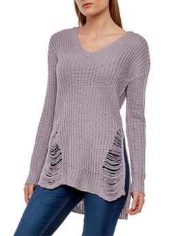 V Neck Shredded High Low Sweater - 3020015050029