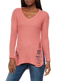 V Neck Shredded High Low Sweater - 3020015050029