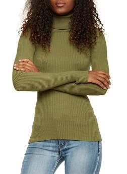 Ribbed Turtleneck Sweater - OLIVE - 3020015050034