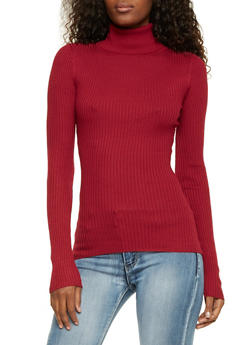 Ribbed Turtleneck Sweater - RED - 3020015050034