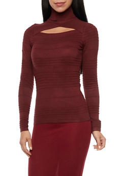 Turtleneck Top with Cutout - 3020015050036