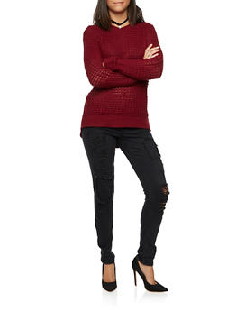 Waffle Knit Sweater with High Low Hem - 3020015050045