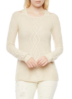 Cold Shoulder Cable Knit Sweater - 3020015050084