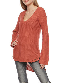 V Neck High Low Tunic Sweater - 3020015050260