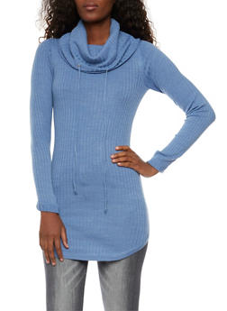 Tunic Top with Drawstring Cowl Neck - 3020015050263