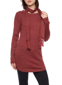 Matching Rib Knit Tunic Top and Scarf - 3020015050279
