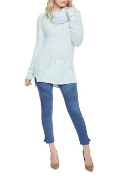 High Low Sweater with Drawstring Cowl Neck - 3020015051005