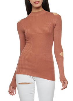 Double Slit Ribbed Knit Sweater - 3020015051027