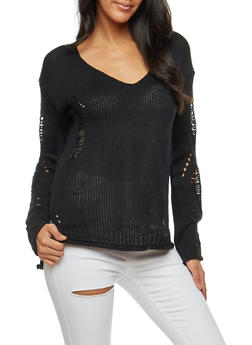 Ripped Braided Knit Sweater - 3020015051030