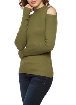 Ribbed Cold Shoulder Top with Long Sleeves - 3020015051032