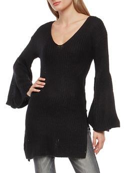 Long Bell Sleeve Knit Sweater - 3020015052032