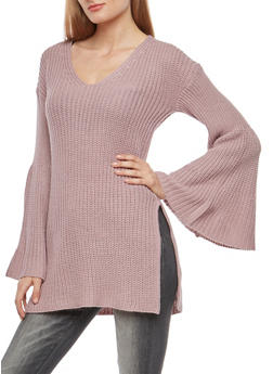 Long Bell Sleeve Knit Sweater - 3020015052032