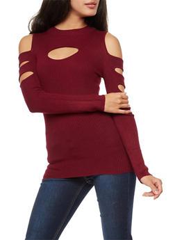 Cold Shoulder Keyhole Sweater - 3020038340201