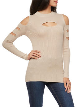 Rib Knit Cold Shoulder Opened Sleeve Top - 3020038340204