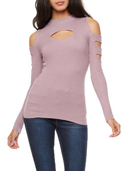 Rib Knit Cold Shoulder Open Sleeve Sweater - 3020038340206
