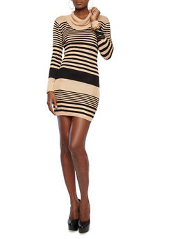 Long Sleeve Striped Sweater Dress With Cowl Neck,BEIGE,medium