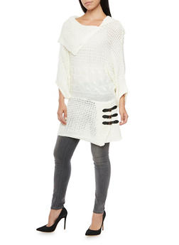Sweater with Faux Leather Buckle Accents - IVORY - 3020038346122