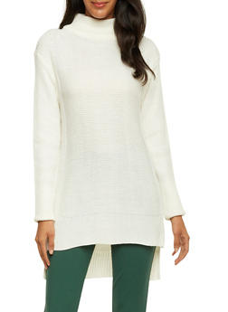 Mock Neck Sweater with High Low Hem - 3020038346126