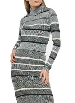 Striped Mock Neck Sweater - 3020038346136