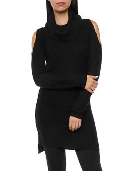 Cold Shoulder Tunic Sweater with Cowl Neck - 3020038346137