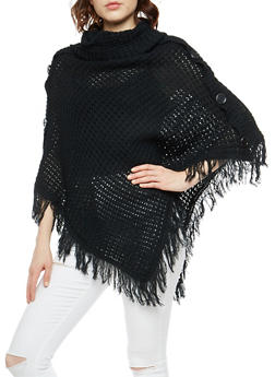 Chunky Knit Button Detail Poncho with Fringe - 3020038346157