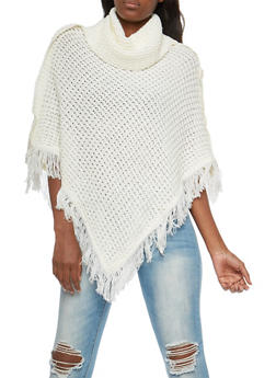 Chunky Knit Button Detail Poncho with Fringe - IVORY - 3020038346157