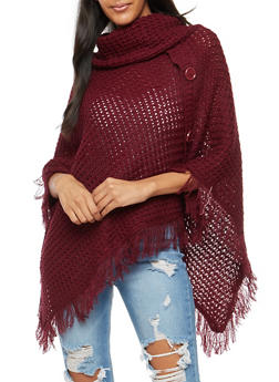 Chunky Knit Button Detail Poncho with Fringe - WINE - 3020038346157